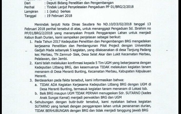 BRG dan UGM Akui Tidak Pernah Menugaskan Sutarno Kades Sungai Anak Kamal Untuk Garap Lahan Milik Masyarakat