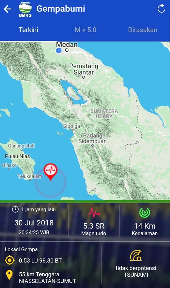 Gempa Bumi Tektonik M = 5,3 Guncang Nias Selatan,Tidak Berpotensi Tsunami