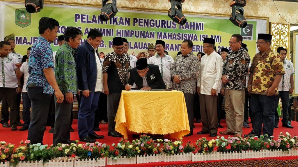 Bupati Meranti,H.Irwan Hadiri Pelantikan Pengurus KAHMI Meranti Periode 2018-2023