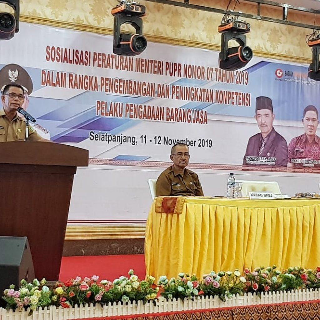 Asisten III Sekdakab. Meranti Buka Kegiatan Sosialisasi Peraturan Menteri PUPR Nomor 7 Tahun 2019 Dilingkungan Pemkab. Meranti