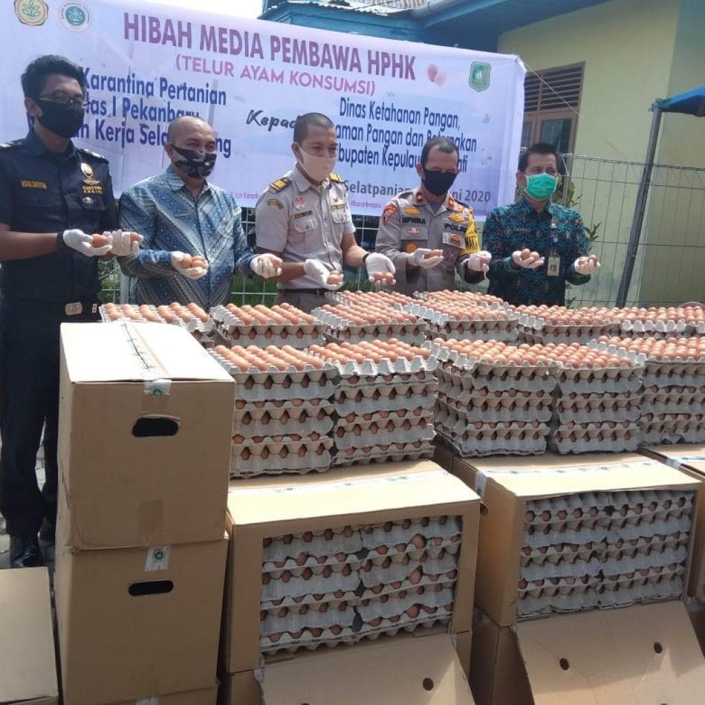 Balai Karantina Pertanian Hibahkan 7.100 Telur Ayam Untuk Lima Desa di Meranti