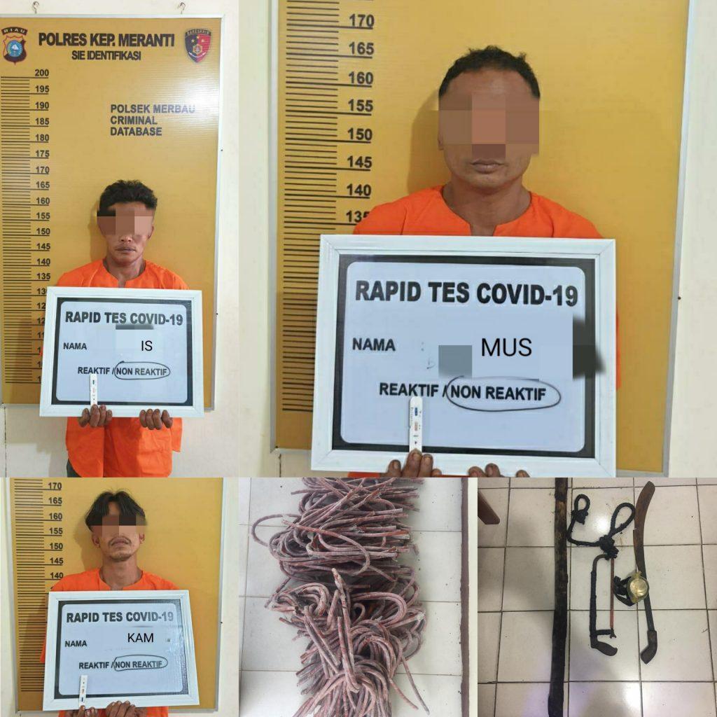 Polsek Merbau Ringkus Tiga Maling Kabel PT EMP Malacca Starit