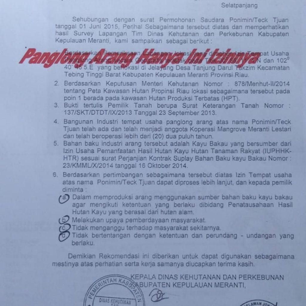 Izin Panglong Arang di Meranti Hanya Rekomendasi Dari Dishut Meranti Tahun 2015 Silam