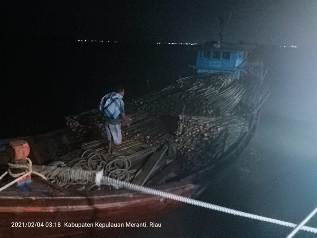 Bea Cukai Tangkap Ribuan Kayu Teki Ilegal di Perairan Selatpanjang