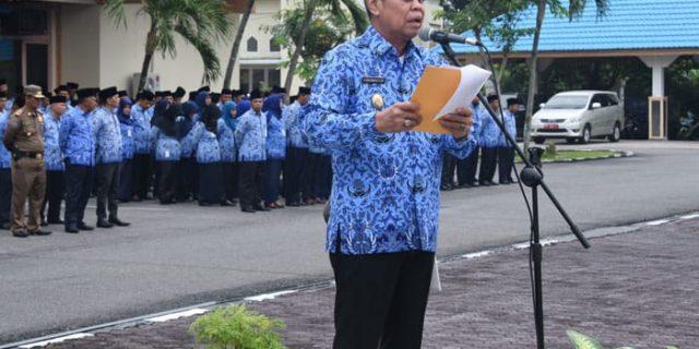 Wakil Bupati Bengkalis,H.Muhammad Bacakan Sambutan Gubernur Riau Pada HUT RI ke- 73 di Bengkalis