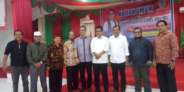 Yayasan Universitas Labuhanbatu adakan kuliah umum yang di hadiri oleh tokoh pendidikan sumatra utara Sihar PH.Sitorus.