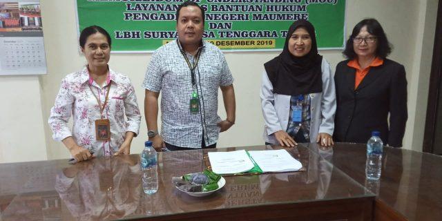 PN Maumere Dan LBH Surya NTT Teken MoU Layanan Posbakum