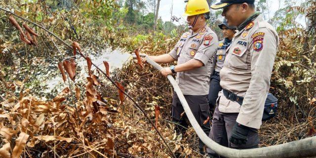 Kapolda Riau Berpeluh Keringat Ikut Padamkan Api di Rupat Utara