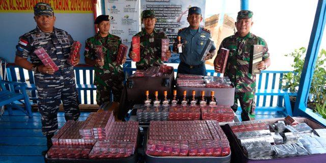 Mantap, TNI-AL Selatpanjang Gagalkan Rokok Dan Miras Illegal Asal Batam Kepri