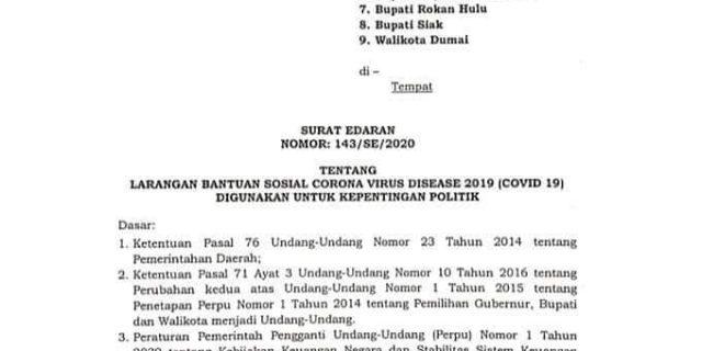 Bawaslu Riau Ucapkan Terima Kasih, Gubri Keluarkan SE Larangan Manfaatkan Bantuan Covid-19 Gunakan Untuk Kepentingan Politik