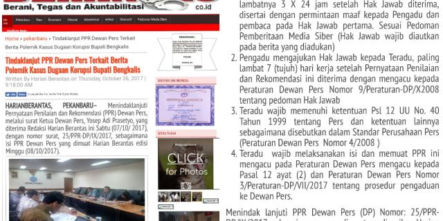 Tindaklanjut PPR Dewan Pers Terkait Berita Polemik Kasus Dugaan Korupsi Bupati Bengkalis