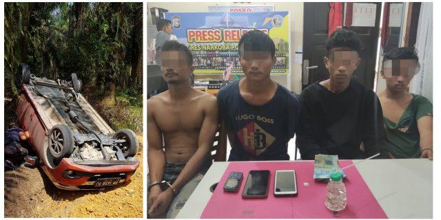 Ditembak Ban, Mobil Pengedar Sabu Terbalik